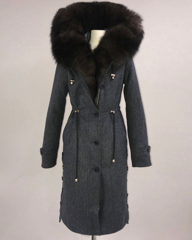 [SPECIAL PRICE] SABLE FOX FUR TRIM COAT