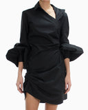 ASYMMETRIC COTTON POPLIN DRESS