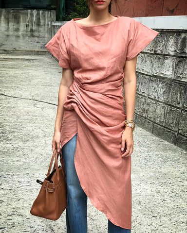 [EDITOR'S PICK] LINEN TUNIC DRESS - 2 COLORS