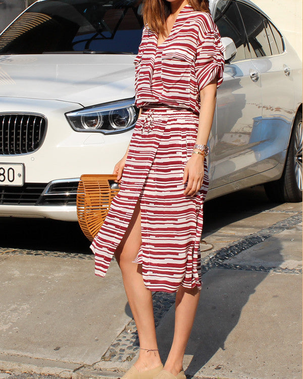 LUXE SILK STRIPE DRESS