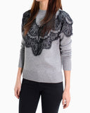LACE PANEL KNIT SWEATER