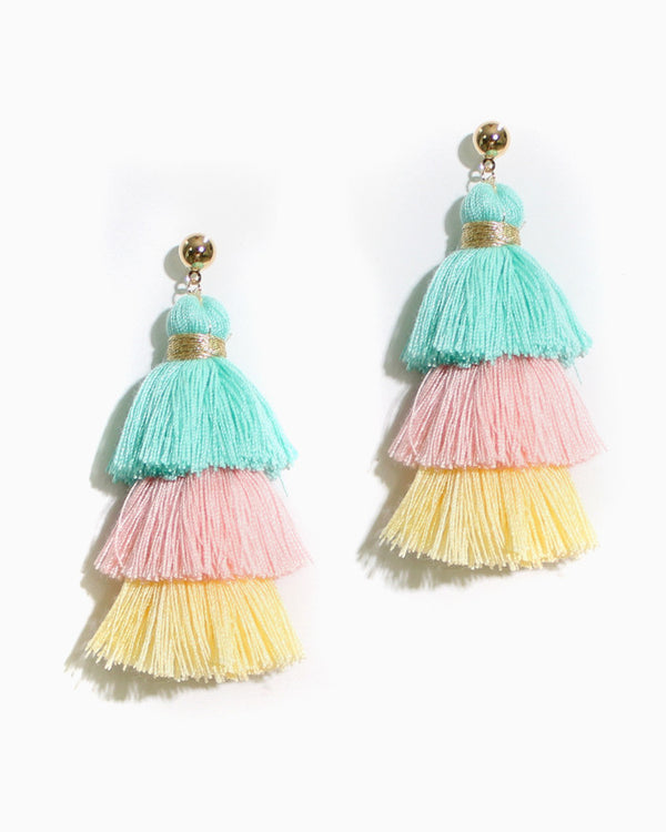 TIERED TASSEL EARRINGS - 4 COLORS