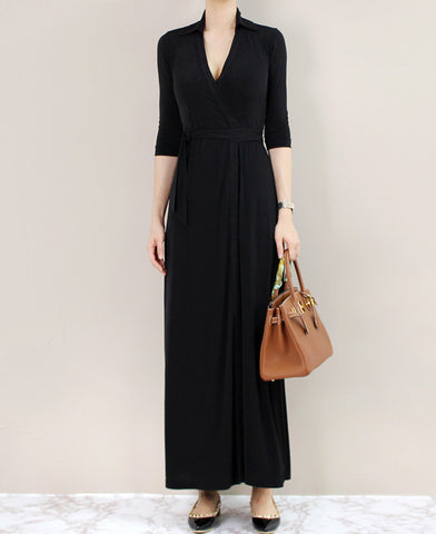MAXI WRAP DRESS - 2 COLORS
