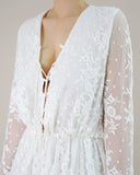 EMBROIDERED SILK ROMPER