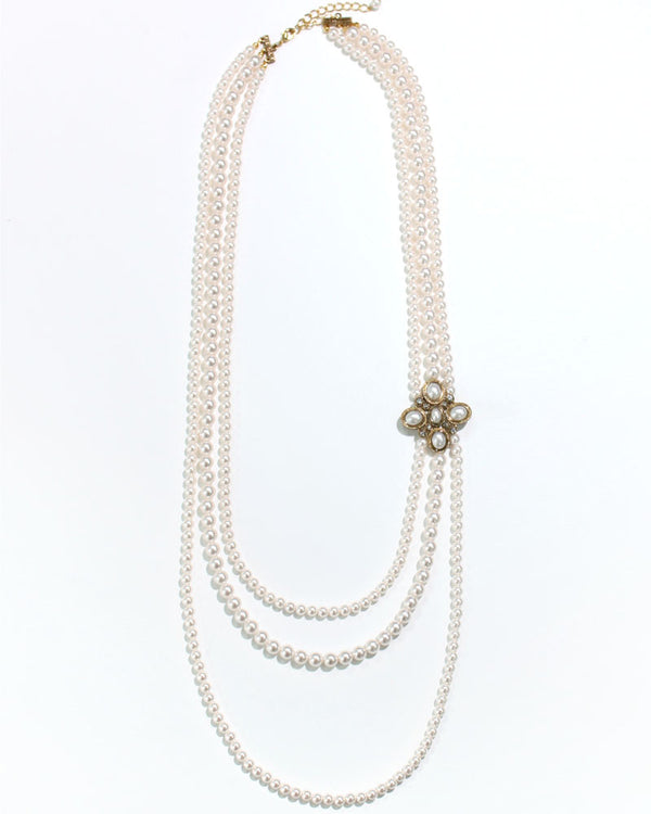 THREE ROW LONG PEARL NECKLACE