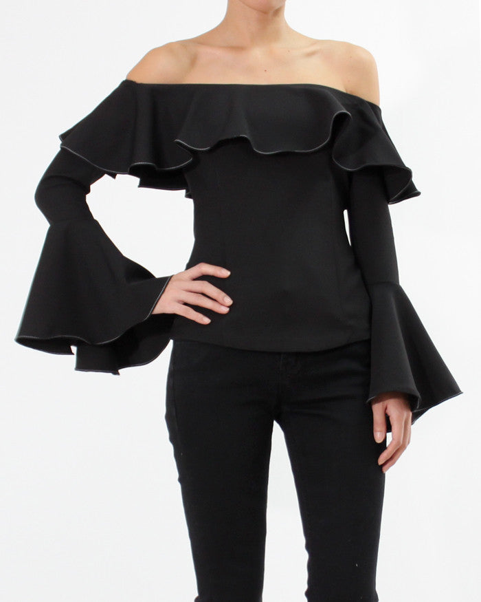 FLARED SLEEVE OFF SHOULDER TOP