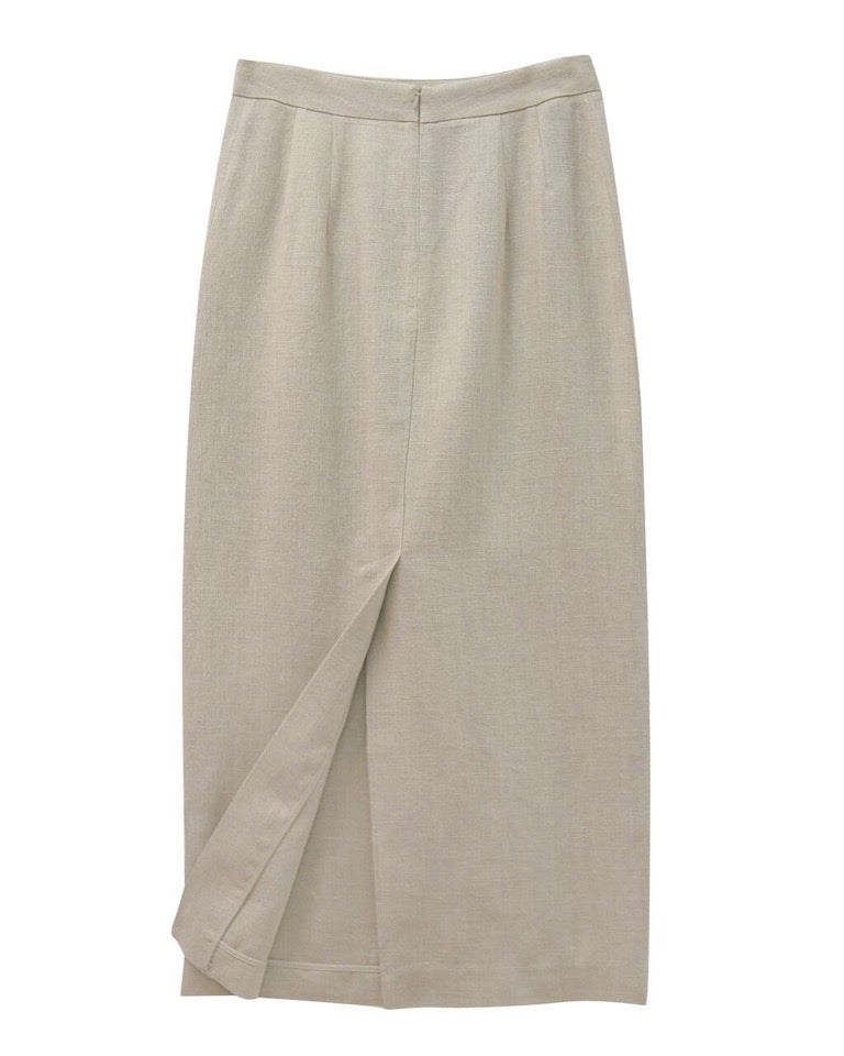 LUXE LINEN MAXI PENCIL SKIRT