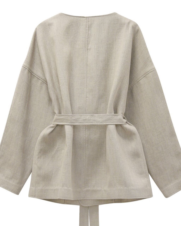 LUXE LINEN BELTED JACKET