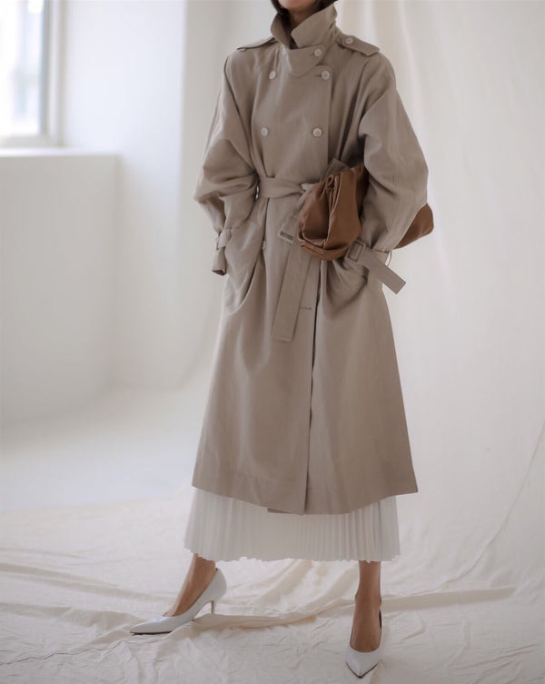 OVERSIZED LINEN DOUBLE BUTTON TRENCH COAT