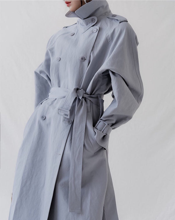 OVERSIZED LINEN DOUBLE BUTTON TRENCH COAT - 3 COLORS