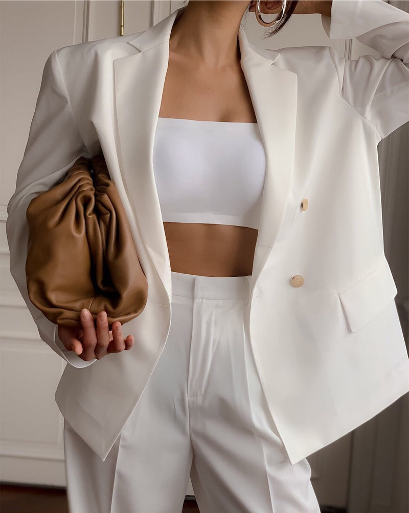 OVERSIZED DOUBLE BREASTED SUMMER BLAZER - 3 COLORS