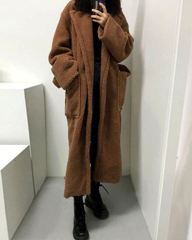 LONG TEDDY FUR COAT - 2 COLORS