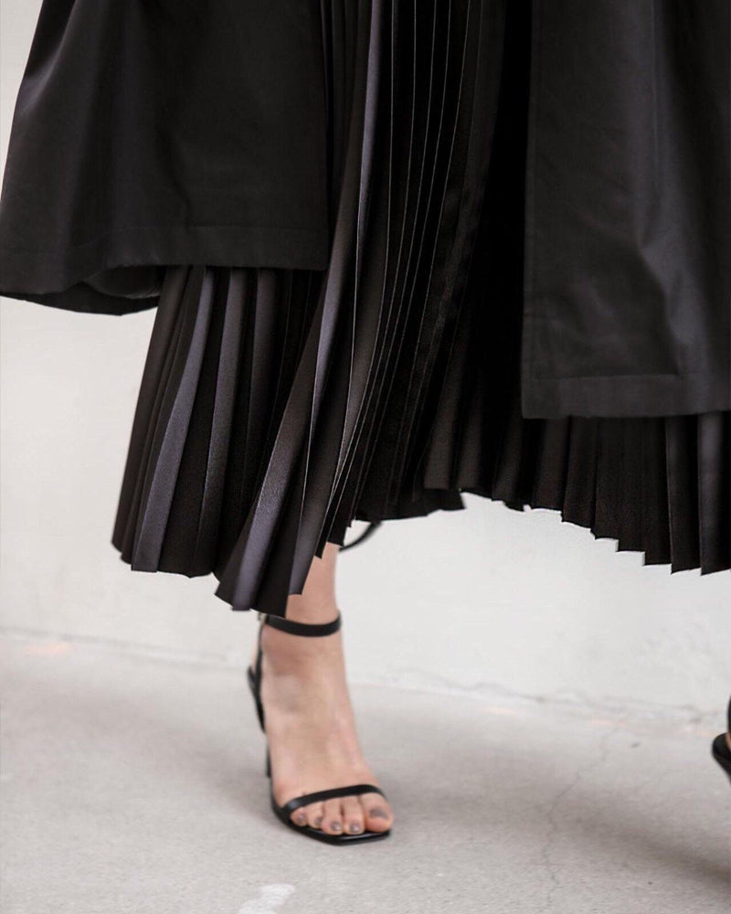 LUXE SILK PLEATED SKIRT - 4 COLORS