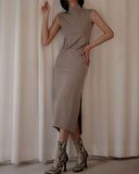 HIGH NECK SIDE SLIT DRESS