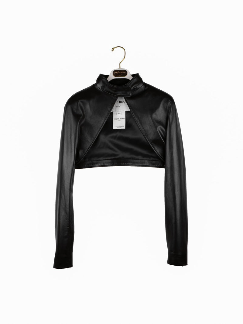 LEATHER CROPPED BOLERO JACKET