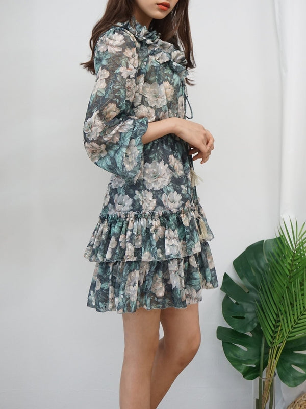 LONG SLEEVE RUFFLE TIERED FLORAL DRESS