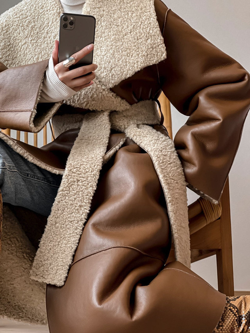 LUXE OVERSIZED BELTED SHEARLING COAT