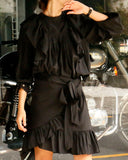 RUFFLED TAFFETA BLOUSE & SKIRT SET