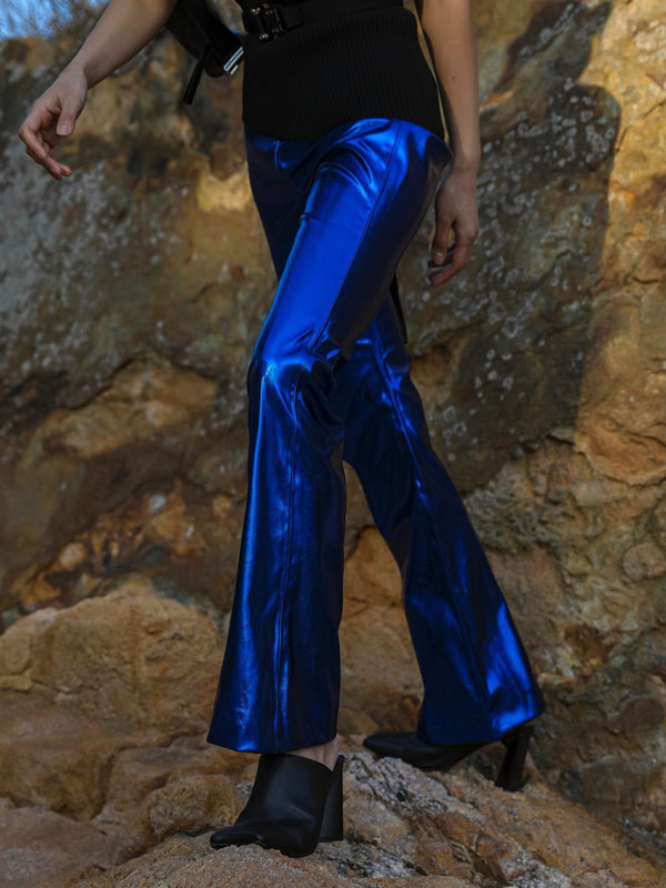 METALLIC VEGAN LEATHER FLARED TROUSERS
