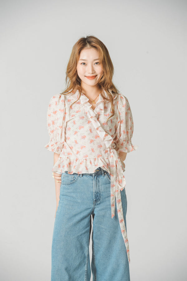 FLORAL WRAP BLOUSE