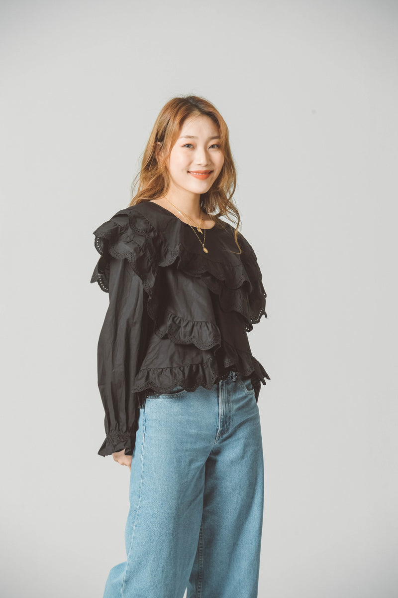 STRUCTURED RUFFLE BLOUSE