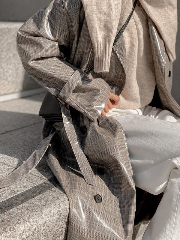 OVERSIZED COATED CHECK TRENCH COAT