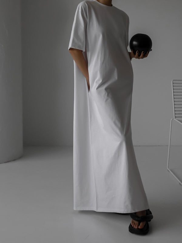 OVERSIZED COTTON MAXI DRESS WITH SIDE SLIT
