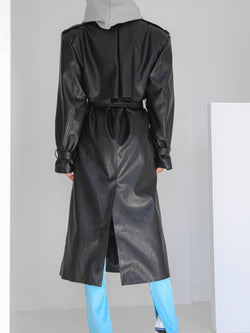 OVERSIZED DOUBLE BREASTED VEGAN LEATHER TRENCH