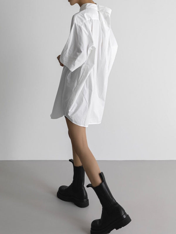 OVERSIZED HALF SLEEVE SHIRT WITH PINCHED COLLAR