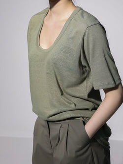 OVERSIZED HEMP U-NECK T-SHIRT