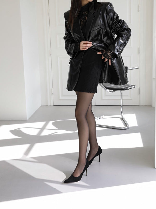OVERSIZED PATENT LEATHER BLAZER