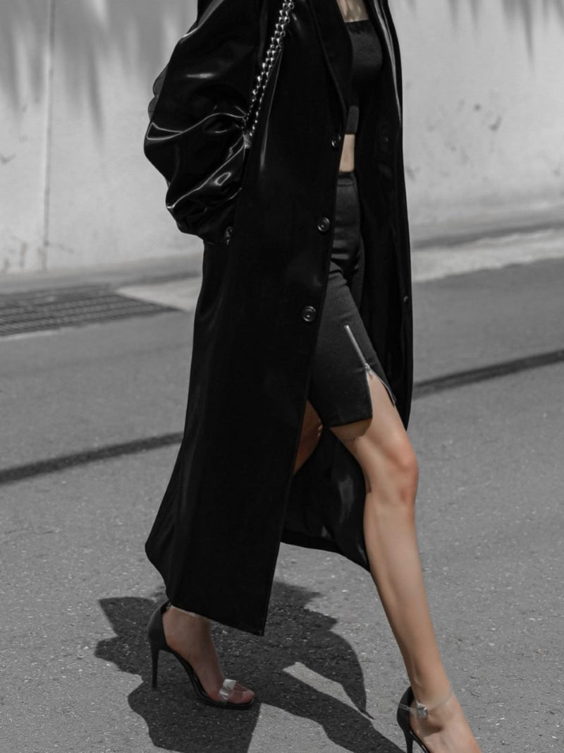 OVERSIZED PATENT LEATHER SINGLE BREASTED COAT