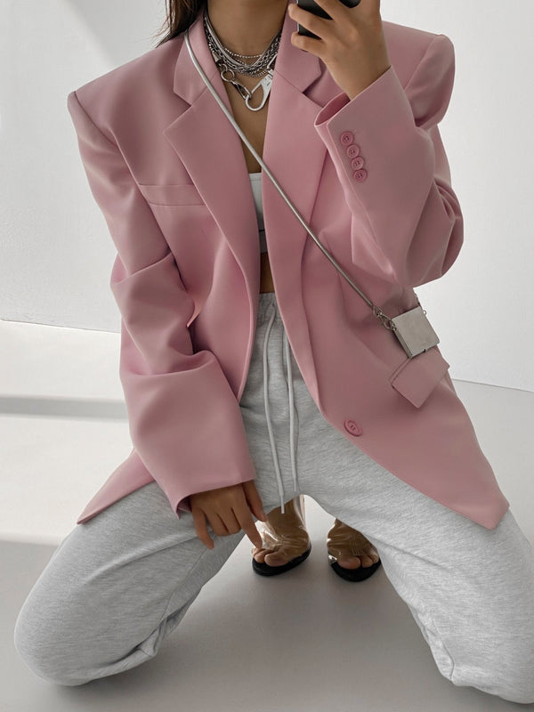 OVERSIZED SQUARE SHOULDER TWILL BLAZER