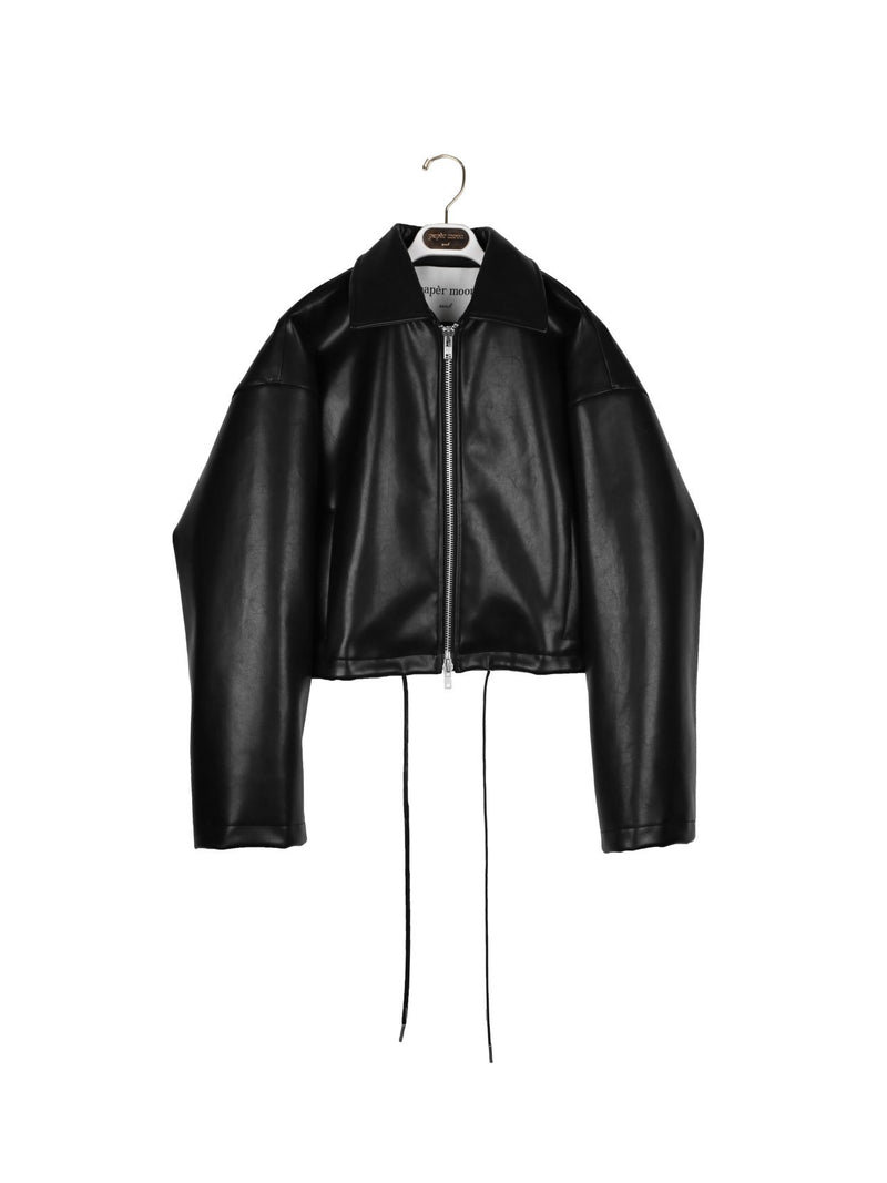OVERSIZED VEGAN LEATHER CROPPED JACKET