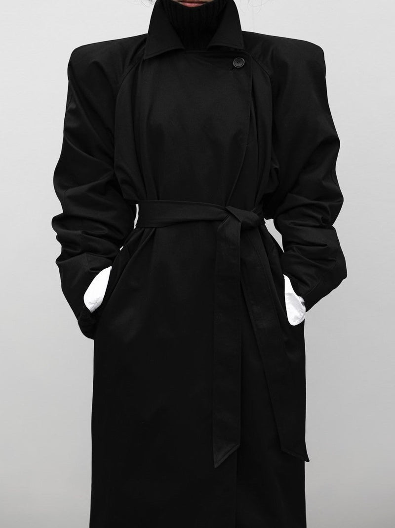 PADDED SHOULDER OVERSIZED COTTON TRENCH