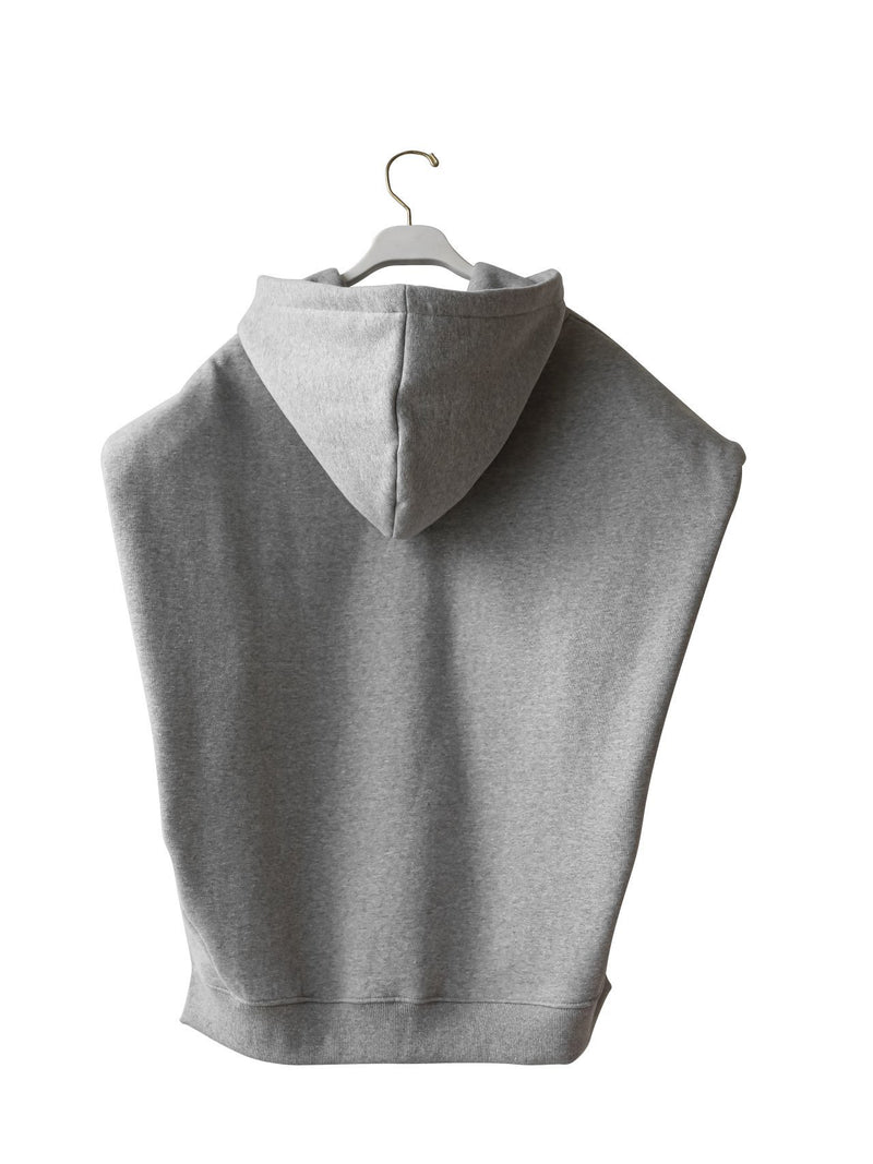 PADDED SHOULDER SLEEVELESS HOODIE