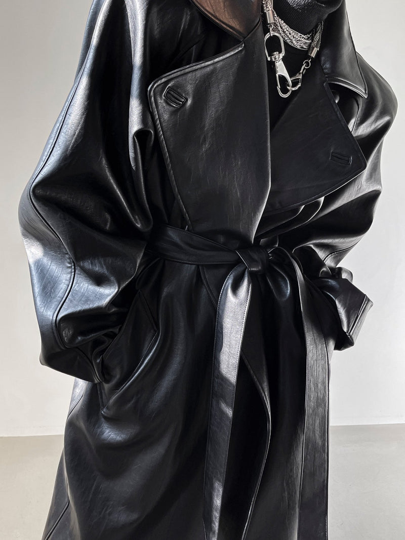 PADDED SHOULDER VEGAN LEATHER TRENCH COAT