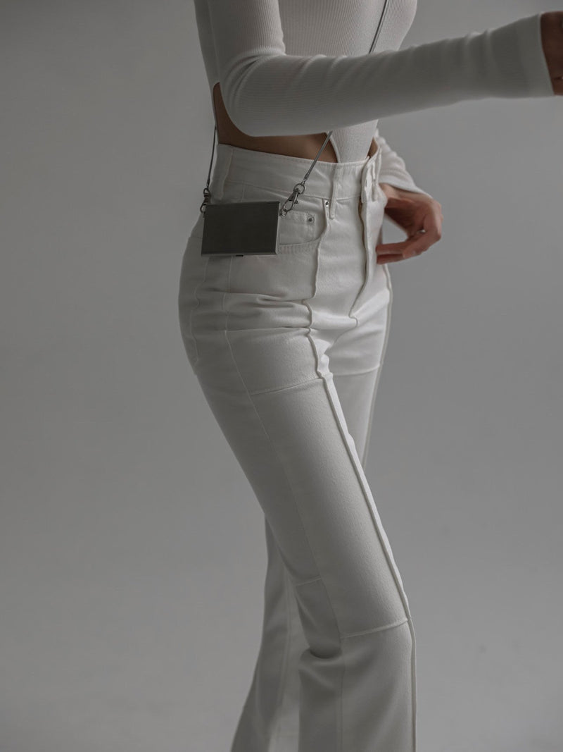 PANEL DETAIL WHITE FLARED DENIM JEANS