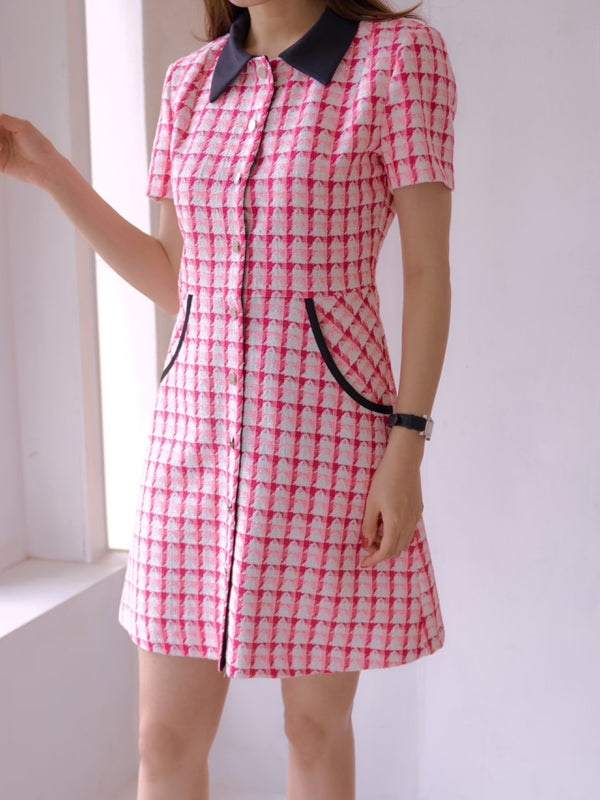 PATTERNED COLLARED A-LINE DRESS