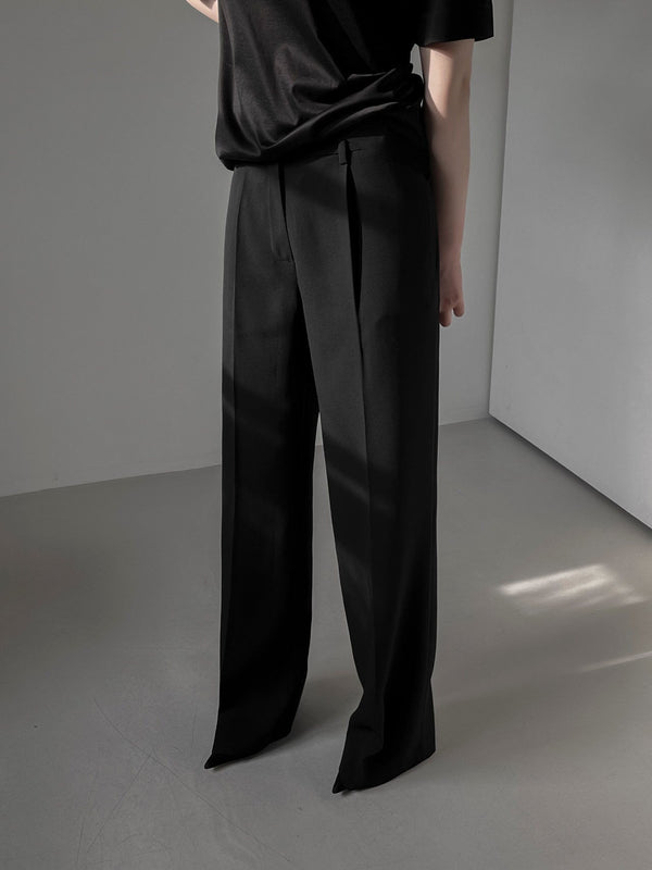 WIDE PIN TUCK TROUSERS