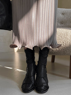 PLEATED WAVE MIDI SKIRT
