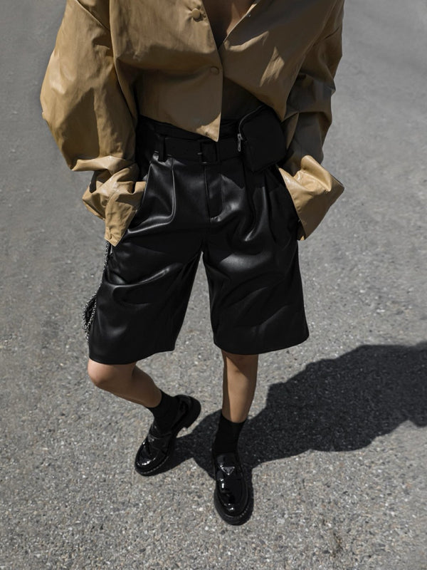 POCKET BELT DETAIL VEGAN LEATHER BERMUDA SHORTS