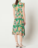 FLORAL RUFFLED NECK DRESS