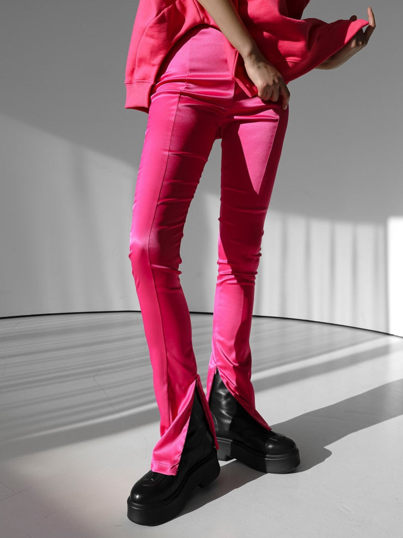SATIN SIDE SLIT ZIPPERED LEGGINGS