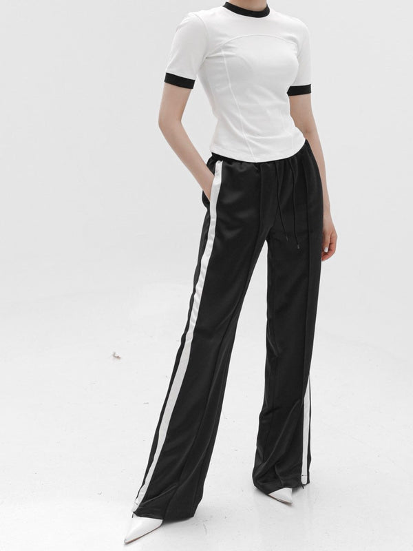 SATIN SIDE STRIPED TRACK TROUSERS