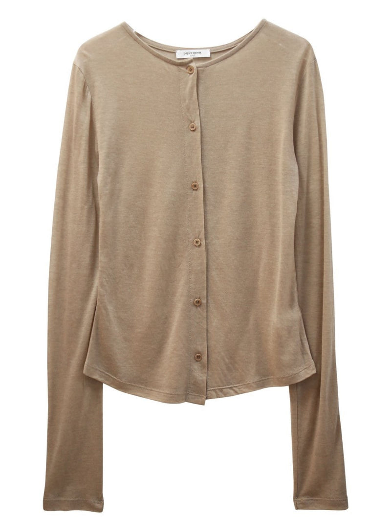 SHEER BUTTON-THROUGH CARDIGAN
