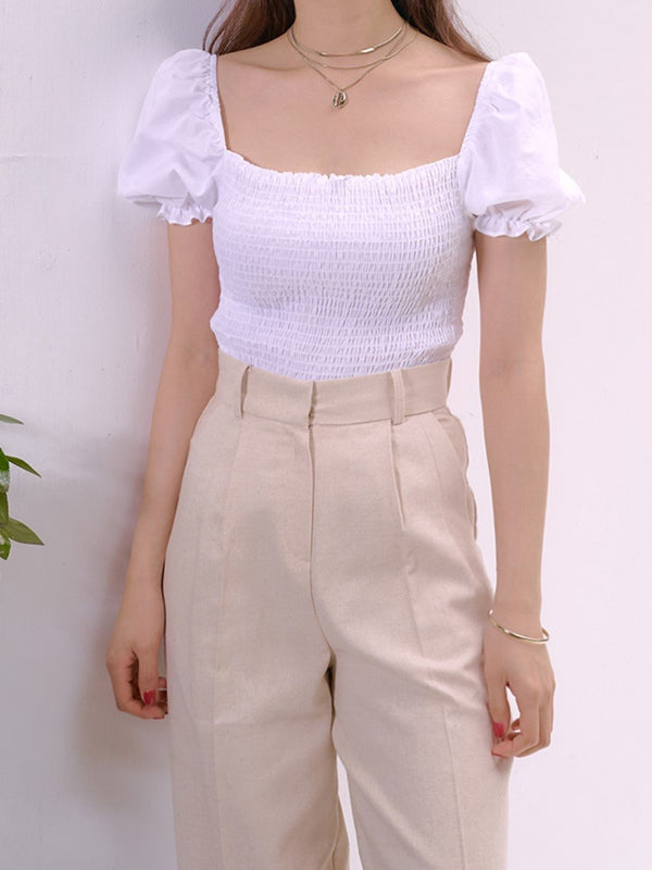 SHIRRED BLOUSE WITH RUFFLE HEM