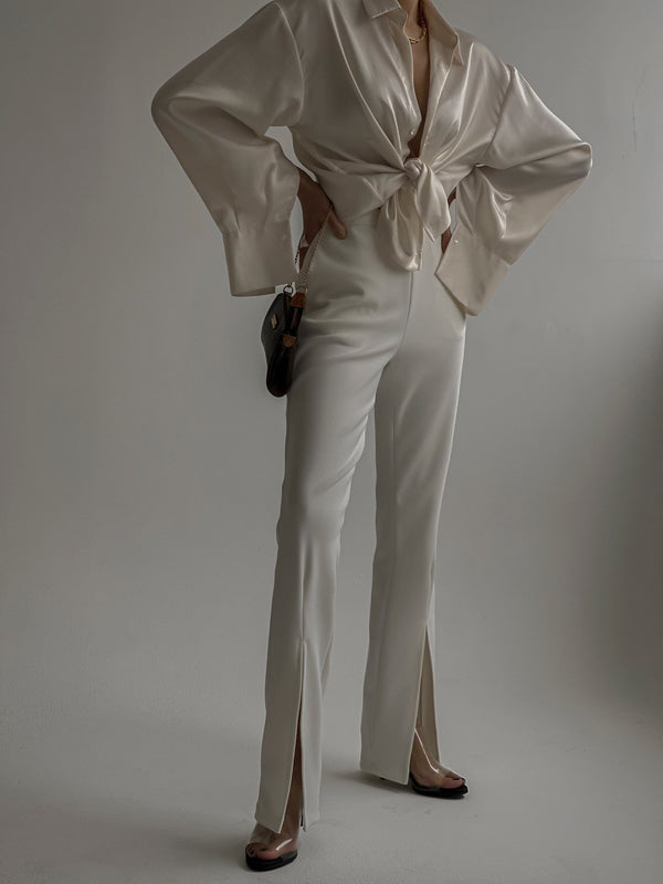 SILK UNBALANCED WRAP BLOUSE