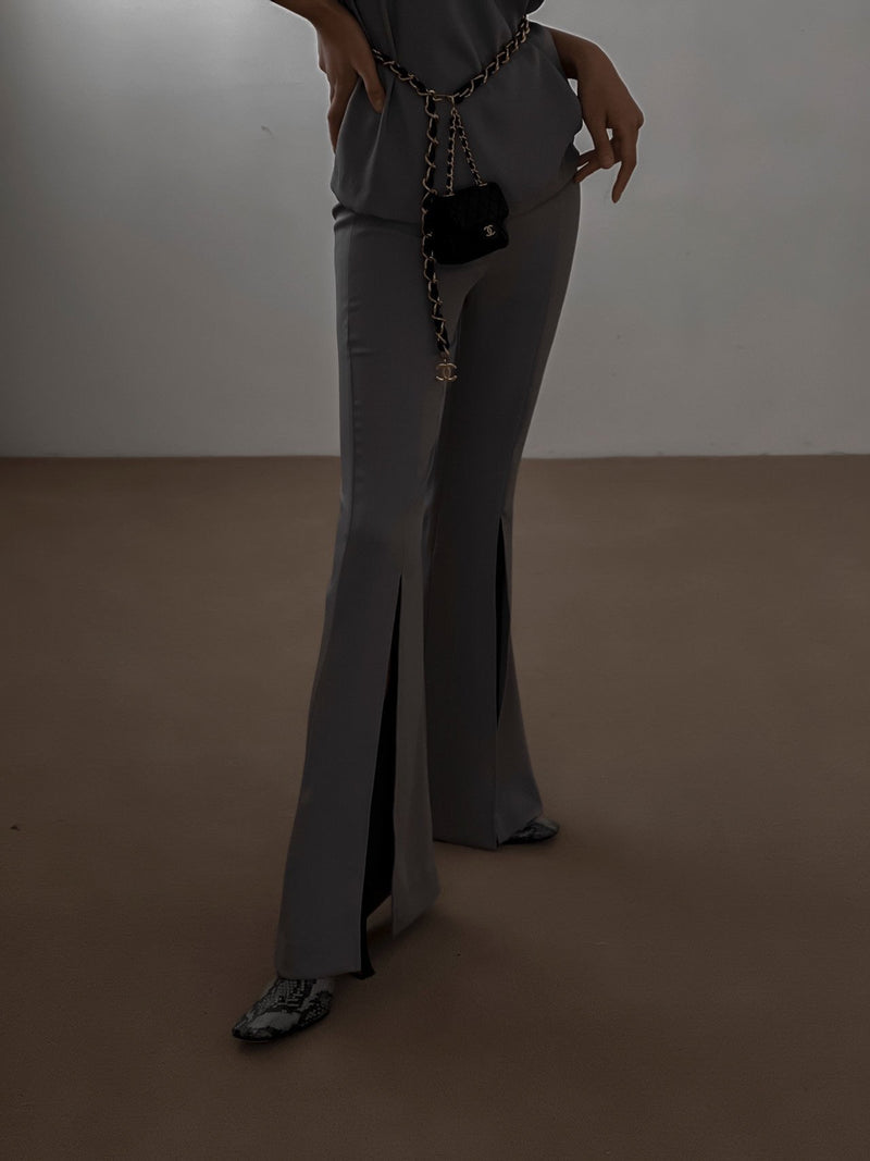 SILKY FRONT SLIT FLARED TROUSERS