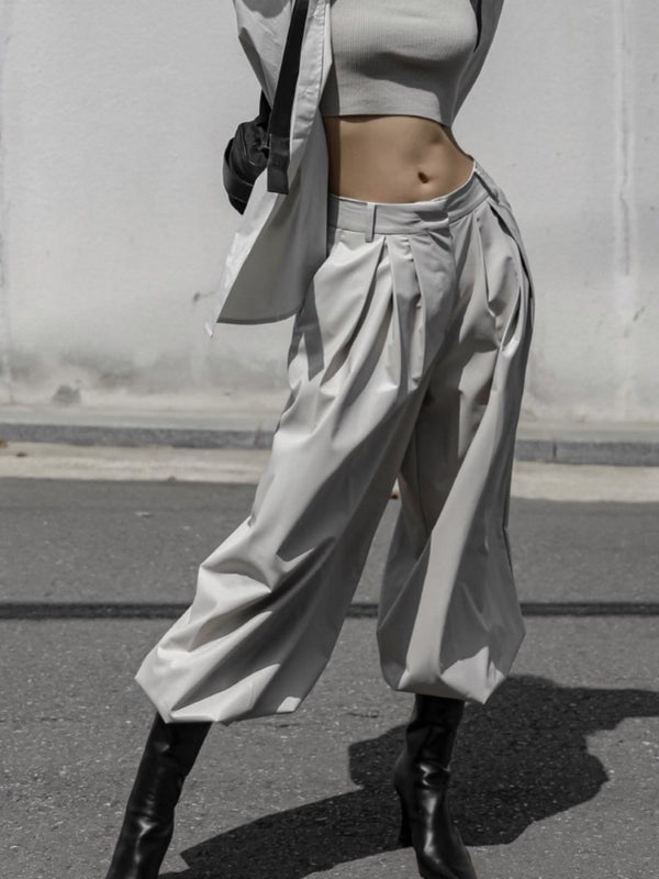 SOFT VEGAN LEATHER BLOOMER TROUSERS